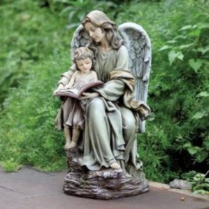 Serene Angel and Child Reading a Book Outdoor Garden Statue